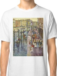 Maurice Brazil Prendergast - The Grand Canal, Venice. Urban landscape: city view, streets,  Venice, house, trees, cityscape, architecture, construction, travel landmarks, panorama garden, buildings Classic T-Shirt