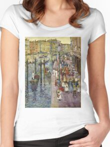 Maurice Brazil Prendergast - The Grand Canal, Venice. Urban landscape: city view, streets,  Venice, house, trees, cityscape, architecture, construction, travel landmarks, panorama garden, buildings Women's Fitted Scoop T-Shirt