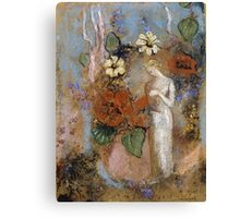 Pandora - Pandora. Garden landscape: garden view, trees and flowers, blossom, nature, woman, Mystery, wonderful flowers, dream, think, garden, flower Canvas Print