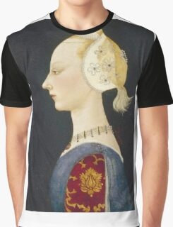 Paolo Uccello - A Young Lady Of Fashion. Woman portrait: sensual woman,  brocade, costume, courtier, beautiful dress,  lady, madame,  Mirror, love, sexy lady, Accessories Graphic T-Shirt