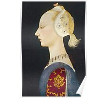 Paolo Uccello - A Young Lady Of Fashion. Woman portrait: sensual woman,  brocade, costume, courtier, beautiful dress,  lady, madame,  Mirror, love, sexy lady, Accessories Poster