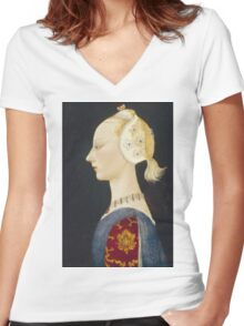 Paolo Uccello - A Young Lady Of Fashion. Woman portrait: sensual woman,  brocade, costume, courtier, beautiful dress,  lady, madame,  Mirror, love, sexy lady, Accessories Women's Fitted V-Neck T-Shirt