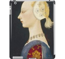 Paolo Uccello - A Young Lady Of Fashion. Woman portrait: sensual woman,  brocade, costume, courtier, beautiful dress,  lady, madame,  Mirror, love, sexy lady, Accessories iPad Case/Skin