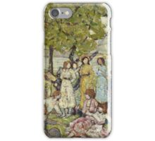Maurice Brazil Prendergast - Holidays. Picnic painting: picnic time, man and woman, holiday, people, family, travel, garden, outdoor meal, eating food, nautical panorama, picnic iPhone Case/Skin