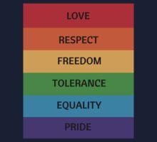 Pride Flag - Love Respect Freedom Tolerance Equality Pride Kids Tee
