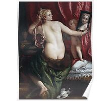 Paolo Veronese - Venus With A Mirror. Woman portrait: sensual woman, nude, beautiful dress,  Mirror, Accessories, Venus,  lady, madame, love, sexy lady, erotic pose Poster