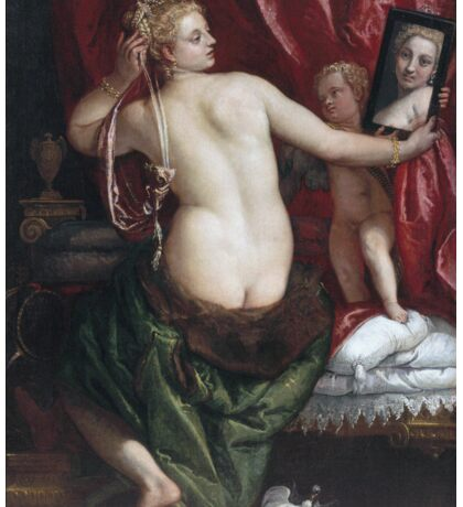 Paolo Veronese - Venus With A Mirror. Woman portrait: sensual woman, nude, beautiful dress,  Mirror, Accessories, Venus,  lady, madame, love, sexy lady, erotic pose Sticker