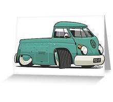 VW T1 pick-up cartoon green Greeting Card