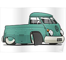VW T1 pick-up cartoon green Poster