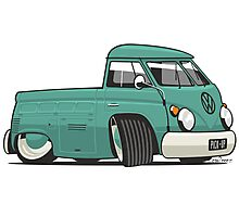 VW T1 pick-up cartoon green Photographic Print