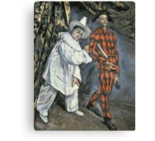 Paul Cezanne - Pierrot And Harlequin. Man portrait:  circus, clown, clowns, costume, harlequin, Pierrot, boyfriend, smile, funnyman, sexy men, ruff Canvas Print