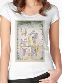 Paul Klee - Black Magic . Abstract painting: abstract art, geometric, Magic , composition, woman, man, people, spot, shape, illusion, fantasy future Women's Fitted Scoop T-Shirt