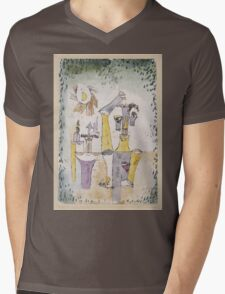 Paul Klee - Black Magic . Abstract painting: abstract art, geometric, Magic , composition, woman, man, people, spot, shape, illusion, fantasy future Mens V-Neck T-Shirt