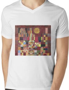 Paul Klee - Castle And Sun. Abstract painting: abstract art, geometric, Castle , composition, lines, forms, Sun, spot, shape, illusion, fantasy future Mens V-Neck T-Shirt