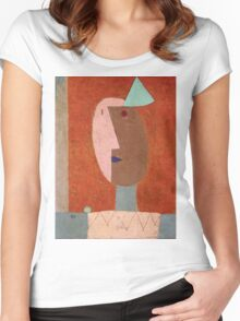 Paul Klee - Clown. Abstract painting: abstract art, geometric, expressionism, composition, lines, forms, creative fusion, spot, shape, illusion, fantasy future Women's Fitted Scoop T-Shirt