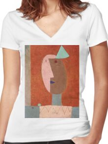 Paul Klee - Clown. Abstract painting: abstract art, geometric, expressionism, composition, lines, forms, creative fusion, spot, shape, illusion, fantasy future Women's Fitted V-Neck T-Shirt