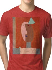 Paul Klee - Clown. Abstract painting: abstract art, geometric, expressionism, composition, lines, forms, creative fusion, spot, shape, illusion, fantasy future Tri-blend T-Shirt