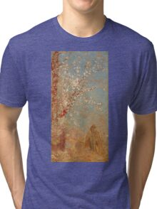 Odilon Redon - Figure Under A Blossoming Tree 1904. Garden landscape: garden view, trees and flowers, blossom, woman, dream, floral flora, wonderful flowers, think, meditation, relaxation, rest Tri-blend T-Shirt