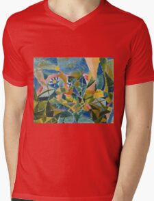 Paul Klee - Flower Bed. Abstract painting: abstract art, geometric, Flower,  Bed, lines, forms, creative fusion, spot, shape, illusion, fantasy future Mens V-Neck T-Shirt