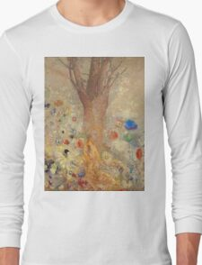 Odilon Redon - The Buddha 1904. Garden landscape: garden, trees and flowers, blossom, nature, Buddha , buddhism, meditating, think, meditation, relaxation, rest Long Sleeve T-Shirt