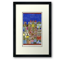 Paul Klee - Marjamshausen, 1928. Abstract painting: abstract art, geometric,  building, house, lines, forms, creative fusion, spot, shape, illusion, fantasy future Framed Print