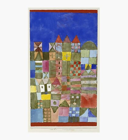 Paul Klee - Marjamshausen, 1928. Abstract painting: abstract art, geometric,  building, house, lines, forms, creative fusion, spot, shape, illusion, fantasy future Photographic Print