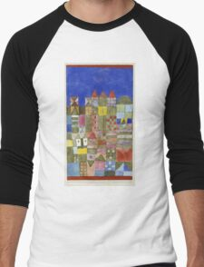 Paul Klee - Marjamshausen, 1928. Abstract painting: abstract art, geometric,  building, house, lines, forms, creative fusion, spot, shape, illusion, fantasy future Men's Baseball ¾ T-Shirt