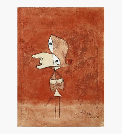 Paul Klee - Portrait Of Brigitte. Abstract painting: abstract art, geometric, bird, woman, lines, forms,  Figure, spot, shape, illusion, fantasy future Photographic Print