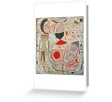 Paul Klee - Printed Sheet With Picture. Abstract painting: abstract art, geometric, woman, composition, lines, forms, creative fusion, spot, shape, illusion, fantasy future Greeting Card