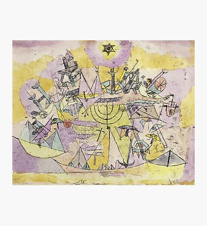 Paul Klee - The Unlucky Ships. Abstract painting: abstract art, Ships, star, composition, lines, forms, geometric, spot, shape, illusion, fantasy future Photographic Print