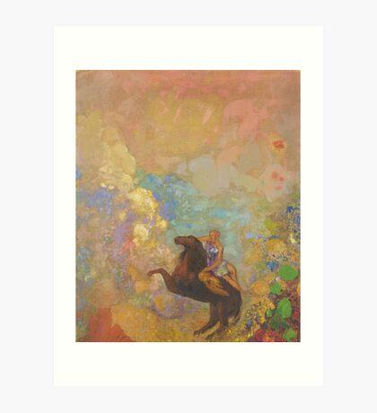 Odilon Redon - Muse On Pegasus 1907 . Garden landscape: garden, trees and flowers, blossom, Muse, woman, horse, wonderful flowers, dream, think, garden, flower Art Print