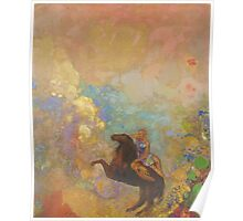 Odilon Redon - Muse On Pegasus 1907 . Garden landscape: garden, trees and flowers, blossom, Muse, woman, horse, wonderful flowers, dream, think, garden, flower Poster