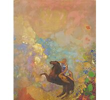 Odilon Redon - Muse On Pegasus 1907 . Garden landscape: garden, trees and flowers, blossom, Muse, woman, horse, wonderful flowers, dream, think, garden, flower Photographic Print
