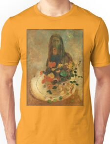 Odilon Redon - Mystery 1910. Garden landscape: garden view, trees and flowers, blossom, nature, woman, Mystery, wonderful flowers, dream, think, garden, flower Unisex T-Shirt