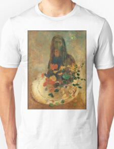 Odilon Redon - Mystery 1910. Garden landscape: garden view, trees and flowers, blossom, nature, woman, Mystery, wonderful flowers, dream, think, garden, flower Unisex T-Shirt