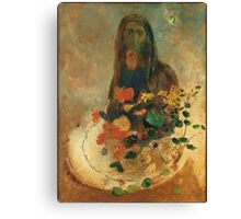 Odilon Redon - Mystery 1910. Garden landscape: garden view, trees and flowers, blossom, nature, woman, Mystery, wonderful flowers, dream, think, garden, flower Canvas Print