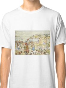Maurice Brazil Prendergast - Bathers And Strollers At Marblehead. Beach landscape: sea view, yachts, holiday, sailing boat, beach, marine, family seascape, sun, nautical panorama, coastal travel Classic T-Shirt