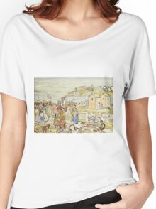 Maurice Brazil Prendergast - Bathers And Strollers At Marblehead. Beach landscape: sea view, yachts, holiday, sailing boat, beach, marine, family seascape, sun, nautical panorama, coastal travel Women's Relaxed Fit T-Shirt
