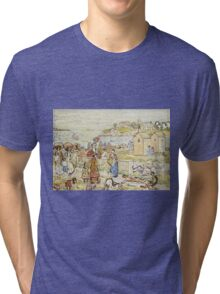 Maurice Brazil Prendergast - Bathers And Strollers At Marblehead. Beach landscape: sea view, yachts, holiday, sailing boat, beach, marine, family seascape, sun, nautical panorama, coastal travel Tri-blend T-Shirt