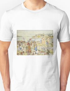 Maurice Brazil Prendergast - Bathers And Strollers At Marblehead. Beach landscape: sea view, yachts, holiday, sailing boat, beach, marine, family seascape, sun, nautical panorama, coastal travel Unisex T-Shirt