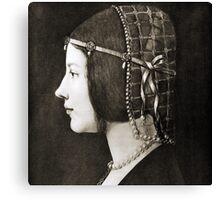 Bianca Sforza by Leonardo da Vinci Canvas Print