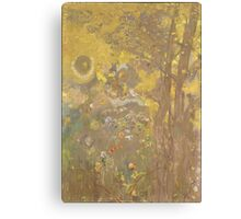 Odilon Redon - Trees On A Yellow Background 1901. Garden landscape: garden view, trees and flowers, blossom, nature, botanical park, floral flora, wonderful flowers, plants, cute plant, garden, flower Canvas Print