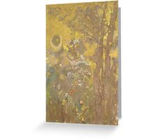 Odilon Redon - Trees On A Yellow Background 1901. Garden landscape: garden view, trees and flowers, blossom, nature, botanical park, floral flora, wonderful flowers, plants, cute plant, garden, flower Greeting Card