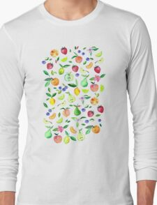 Fresh Fruit - a watercolor pattern Long Sleeve T-Shirt