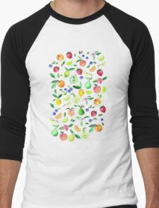 Fresh Fruit - a watercolor pattern Men's Baseball ¾ T-Shirt