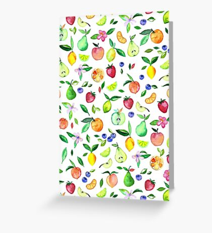 Fresh Fruit - a watercolor pattern Greeting Card