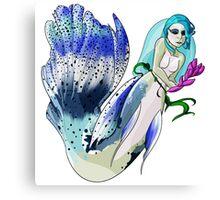 Blue Fin Guppy Mermaid Canvas Print