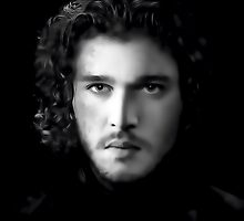 Kit Harington as Jon Snow in Game of Thrones Digital Art Portrait by David Alexander Elder
