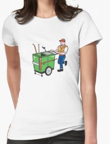 Streeet Cleaner Pushing Trolley Cartoon Isolated Womens Fitted T-Shirt