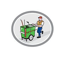 Street Cleaner Pushing Trolley Oval Cartoon by patrimonio